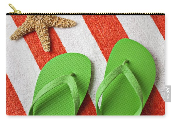 Green Sandals On Beach Towel Carry-all Pouch