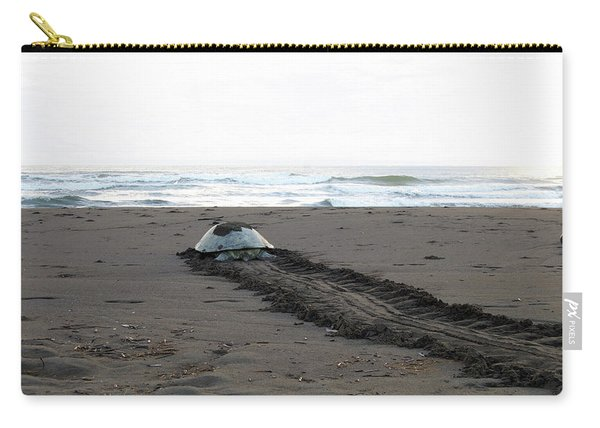 Green Sea Turtle Returning To Sea Carry-all Pouch