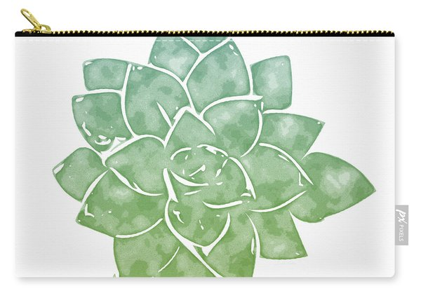 Green Succulent 1- Art By Linda Woods Carry-all Pouch