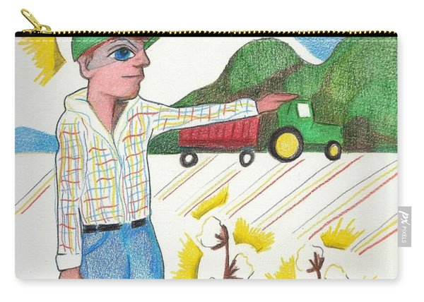 Carry-all Pouch featuring the drawing Green Tractor Hat by Loretta Nash