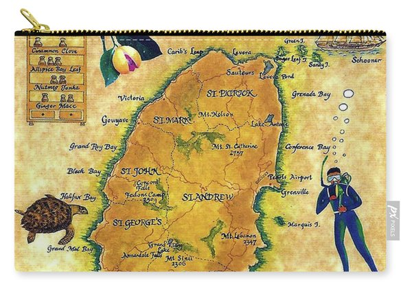Grenada, Isle Map, Scuba Diving Carry-all Pouch
