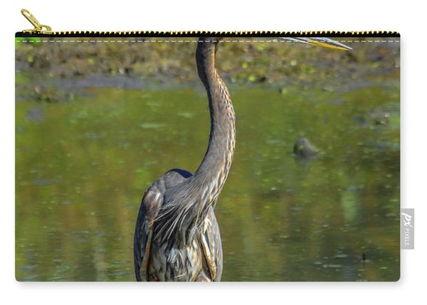 Gret Blue Heron In Pond Carry-all Pouch