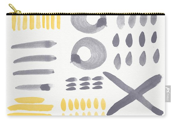 Grey And Yellow Shapes- Abstract Painting Carry-all Pouch