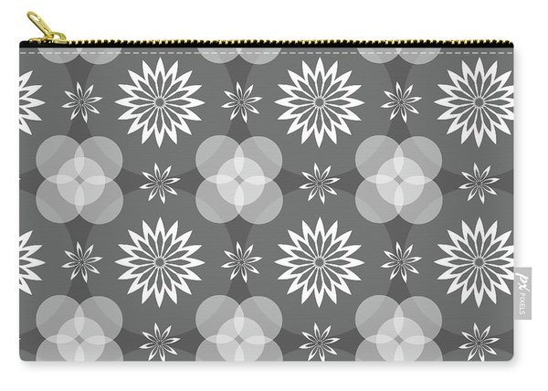 Grey Circles And Flowers Pattern Carry-all Pouch