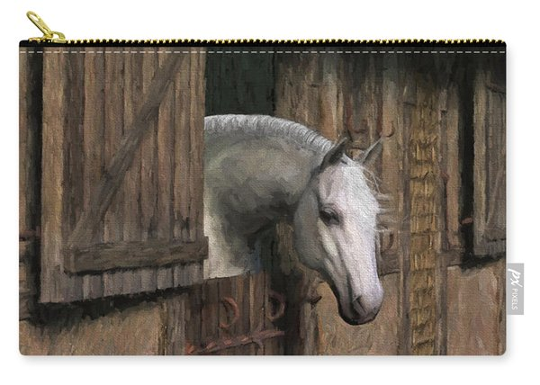 Grey Horse In The Stable - Waiting For Dinner Carry-all Pouch