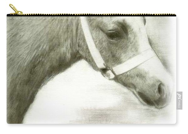 Carry-all Pouch featuring the drawing Grey Welsh Pony  by Ryn Shell
