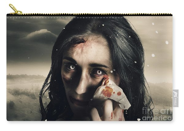 Grim Face Of Horror Crying Tears Of Blood Carry-all Pouch