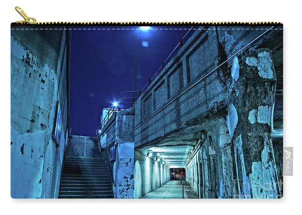 Gritty Dark Chicago City Street Under Industrial Bridge Viaduct At Night Carry-all Pouch