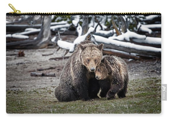 Grizzly Cub Cuddling With Mother Carry-all Pouch