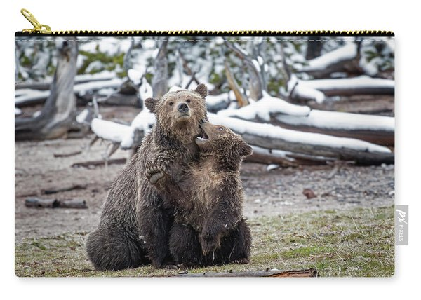 Grizzly Cub Playing With Mother Carry-all Pouch