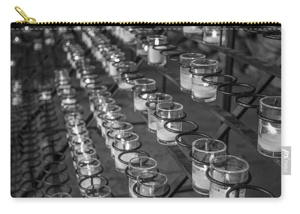 Grotto Of Our Lady Of Lourdes Candles Black And White  Carry-all Pouch