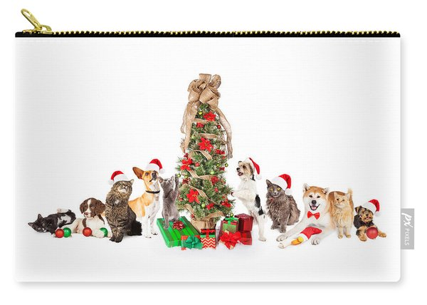 Group Of Cats And Dogs Around Christmas Tree Carry-all Pouch