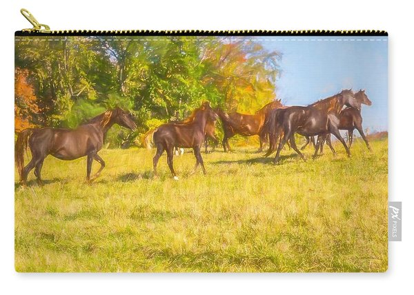 Group Of Morgan Horses Trotting Through Autumn Pasture. Carry-all Pouch