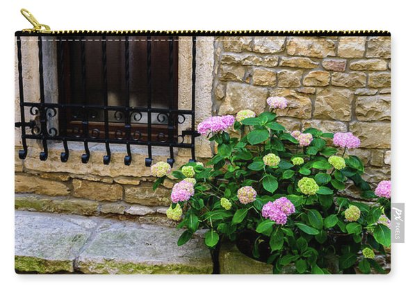 Groznjan Istrian Hill Town Stonework And Flowerpot - Istria, Croatia Carry-all Pouch