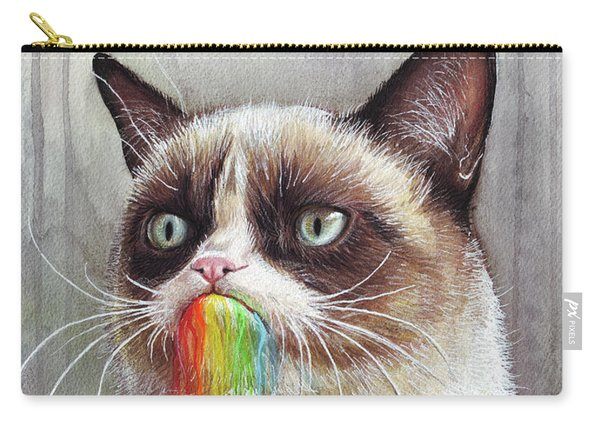 Grumpy Cat Tastes The Rainbow Carry-all Pouch