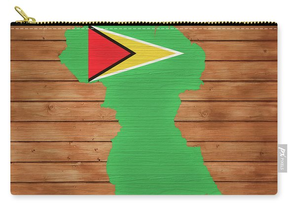 Guyana Rustic Map On Wood Carry-all Pouch