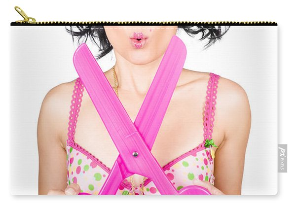 Hair And Beauty Model With Comic Scissor. Haircut Carry-all Pouch