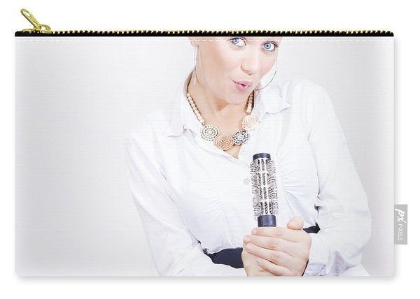 Hair Stylist Singing Into Hair Comb On Copyspace Carry-all Pouch