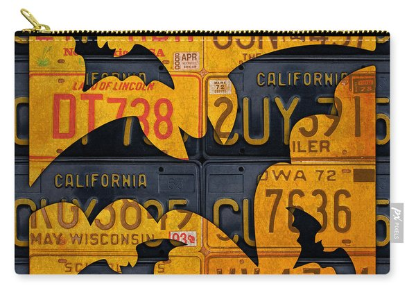 Halloween Bats Recycled Vintage License Plate Art Carry-all Pouch