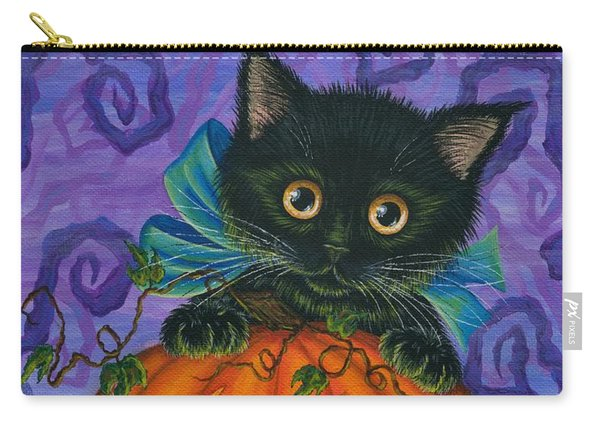 Halloween Black Kitty - Cat And Jackolantern Carry-all Pouch