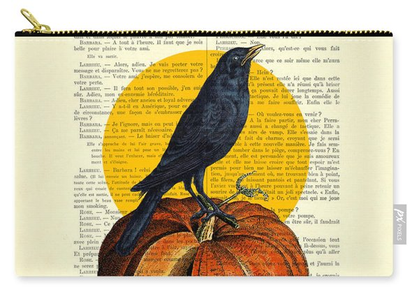 Halloween Pumpkin And Crow Decoration Carry-all Pouch