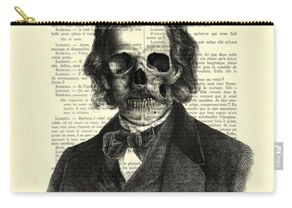 Halloween Skull Portrait In Black And White Carry-all Pouch