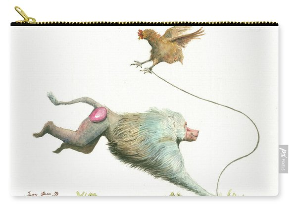 Hamadryas Baboon With Hen Carry-all Pouch