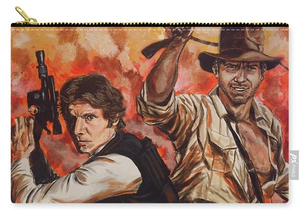 Carry-all Pouch featuring the painting Han Solo And Indiana Jones by Joel Tesch