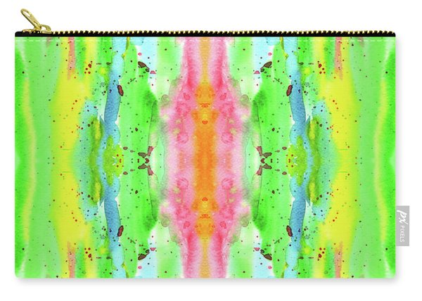 Hand-painted Abstract Watercolor In Bright Rainbow Hues Carry-all Pouch