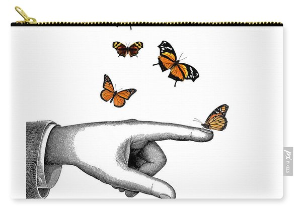 Hand With Orange Monarch Butterfly Carry-all Pouch