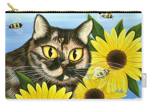 Hannah Tortoiseshell Cat Sunflowers Carry-all Pouch