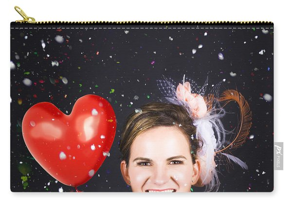 Happy Bride In Confetti During Wedding Celebration Carry-all Pouch