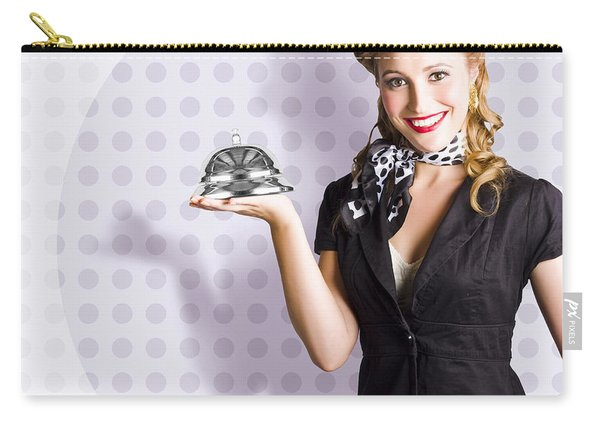 Happy Business Woman Smiling With Service Bell Carry-all Pouch