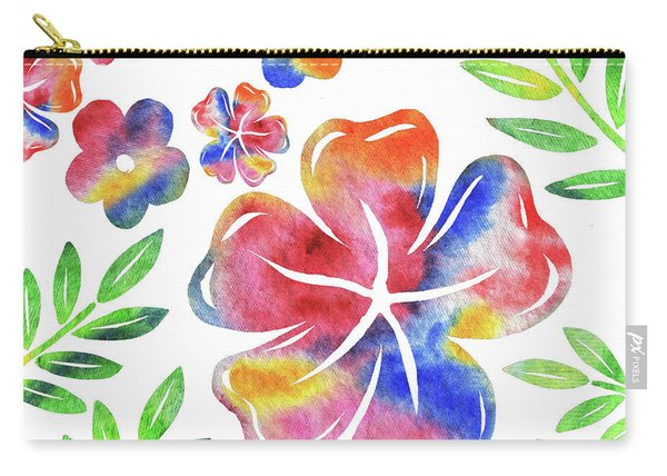 Happy Flowers Watercolor Silhouettes  Carry-all Pouch