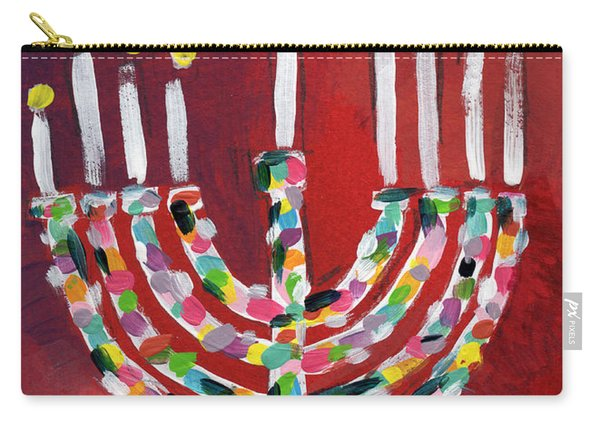 Happy Hanukkah Colorful Menorah Card- Art By Linda Woods Carry-all Pouch