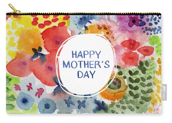 Happy Mothers Day Watercolor Garden- Art By Linda Woods Carry-all Pouch