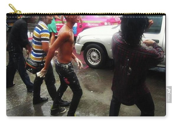 Carry-all Pouch featuring the photograph Happy Songkran. The Water Splashing by Mr Photojimsf