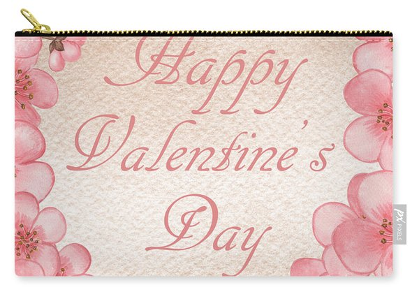 Happy Valentine Pink Heart Carry-all Pouch