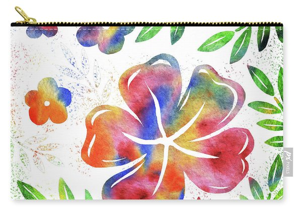 Happy Watercolor Flowers Carry-all Pouch