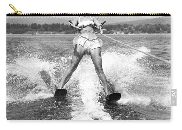 Happy Woman Water Skier Carry-all Pouch