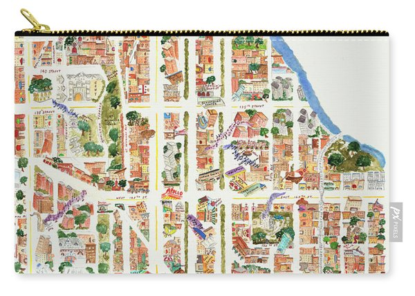 Harlem Map From 106-155th Streets Carry-all Pouch