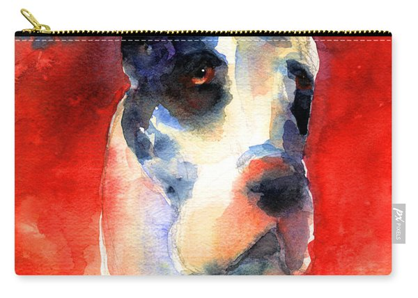 Harlequin Great Dane Watercolor Painting Carry-all Pouch