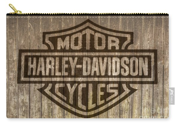 Harley Davidson Logo On Wood Carry-all Pouch