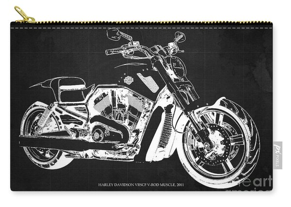 Harley V Rod Muscle Motorcycle, Dark Grey Blueprint, Original Gift For Bikers Carry-all Pouch