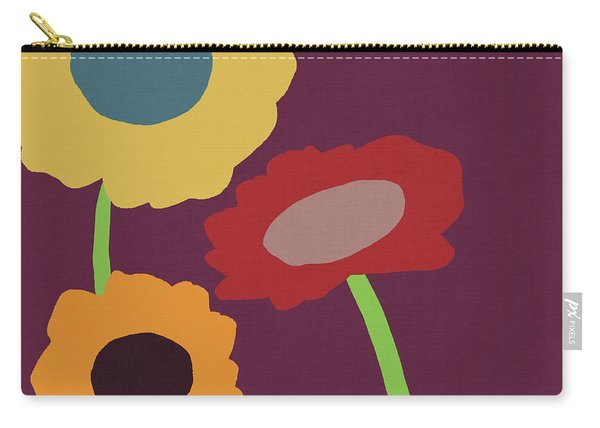 Harvest Flowers Purple- Art By Linda Woods Carry-all Pouch
