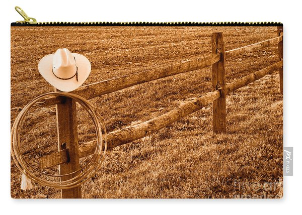 Hat And Lasso On Fence - Sepia Carry-all Pouch