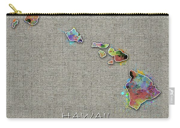 Hawaii Map Color Splatter 4 Carry-all Pouch
