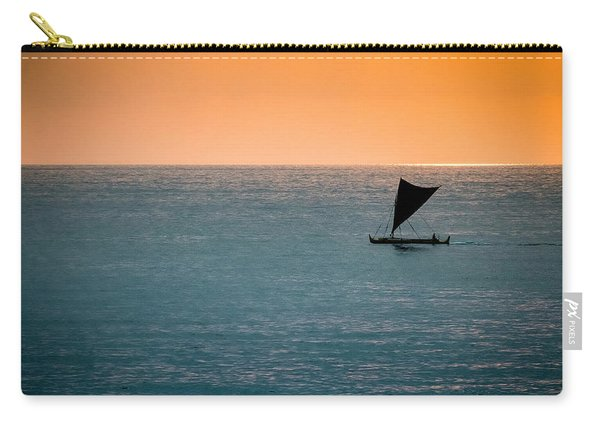 Carry-all Pouch featuring the photograph Hawaiian Outrigger Canoe by Mary Lee Dereske