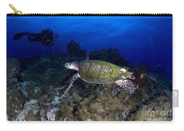 Hawksbill Turtle Swimming With Diver Carry-all Pouch