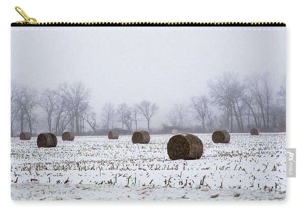Hay Bales In The Snow Carry-all Pouch